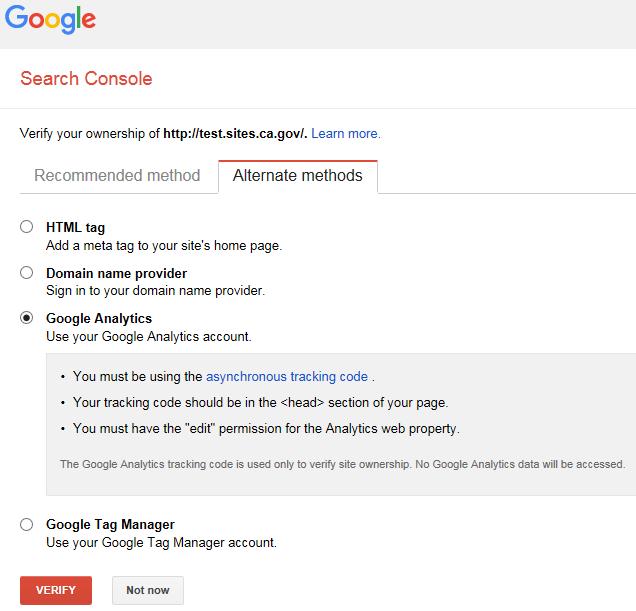Google Analytics option